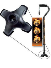 Load image into Gallery viewer, flames and skulls footed walking cane quadruple cane tip bfunkymobility mens