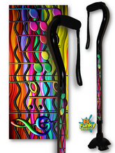 Load image into Gallery viewer, musical notes colorful walking cane footed offset quadruple cane tip bfunkymobility fractal art