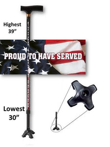 walking cane us military proud to have served footed quad t handle derby veteran military gift men or women adjustable fashionable bfunkymobility