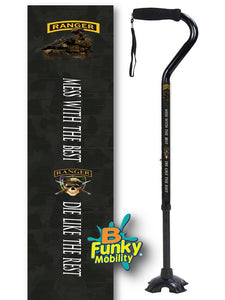 Military Walking Cane US Army Ranger Offset footed quad Adjustable Men or Women Veteran BFunkyMobility