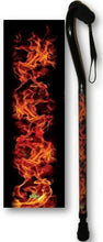 Load image into Gallery viewer, Walking Cane Offset Foam Handle Real Flames  Adjustable Men or Woman Fashionable Cool BFunkyMobility