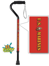 Load image into Gallery viewer, Military Walking Cane US Marines Offset Adjustable Men or Women Veteran BFunkyMobility