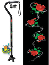Load image into Gallery viewer, Walking Cane Gel Grip Offset Footed Quad roses with barbed wire Walking Cane BFunkyMobility