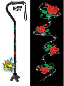 Walking Cane Gel Grip Offset Footed Quad roses with barbed wire Walking Cane BFunkyMobility