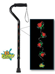 Roses w Barbed Wire Walking Cane