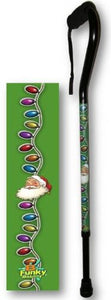 Walking Cane Offset Santa Claus Holiday Design Adjustable Aluminum BFunkyMobility