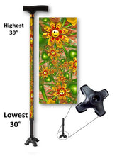 Load image into Gallery viewer, walking cane smiley faces flowers footed quad t handle derby adjustable men or women fashionable bfunkymobility