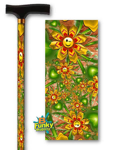 Smiley Flowers Fractal artwork T Handle Walking Cane