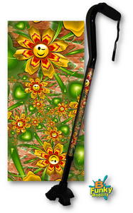 Walking Cane Offset Smiley Daisies adjustable Footed Quad Men or Women Adjustable fashionable bfunkymobility