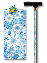 Load image into Gallery viewer, Snowflake fractal artwork t handle walking cane by bfunkymobility