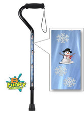 Load image into Gallery viewer, Walking Cane Offset Snowman Holiday Design Adjustable Aluminum BFunkyMobility