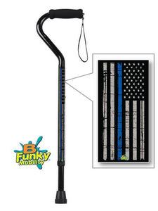 Military Walking Cane Thin Blue Line Policeman Offset Adjustable Men or Women Veteran BFunkyMobility