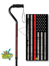 Load image into Gallery viewer, Military Walking Cane Thin Red Line Fireman Offset Adjustable Men or Women Veteran BFunkyMobility