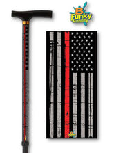Load image into Gallery viewer, walking cane thin red line fireman t handle derby veteran military gift men or women adjustable fashionable bfunkymobility