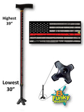 Load image into Gallery viewer, walking cane thin red line fireman quad footed t handle derby veteran military gift men or women adjustable fashionable bfunkymobility