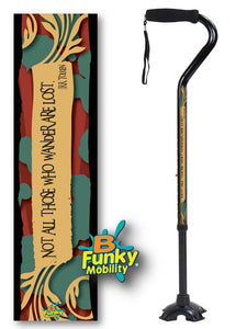 Walking Cane Gel Grip Offset Footed Quad jrr tolkien hobbit Walking Cane BFunkyMobility