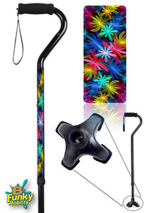 Walking Cane Offset Colorful Tropical Floral adjustable Footed Quad Men or Women Adjustable fashionable bfunkymobility