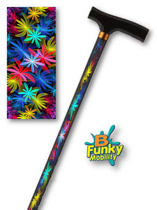 Tropical Floral Fractal Artwork T Handle Walking Cane by BFunkyMobility
