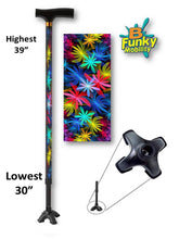 Load image into Gallery viewer, Tropical Floral T handle Quad Walking Cane BFunkyMobility