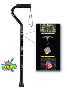 Military Walking Cane Vietnam Veteran Offset Adjustable Men or Women Veteran BFunkyMobility