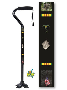 Military Walking Cane Vietnam Veteran Offset Footed Quad Adjustable Men or Women Veteran BFunkyMobility