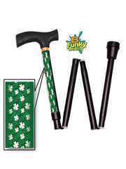 white shamrock folding cane