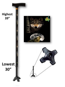 walking cane with wolf moon footed quad t handle derby adjustable men or women fashionable bfunkymobility