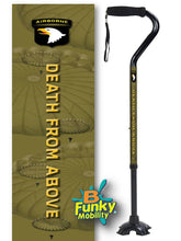 Load image into Gallery viewer, Military Walking Cane US Army Airborne Offset footed quad Adjustable Men or Women Veteran BFunkyMobility