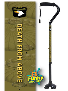 Military Walking Cane US Army Airborne Offset footed quad Adjustable Men or Women Veteran BFunkyMobility