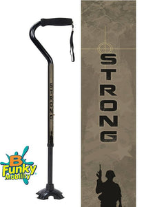 Military Walking Cane US Army Offset Adjustable footed quad Men or Women Veteran BFunkyMobility