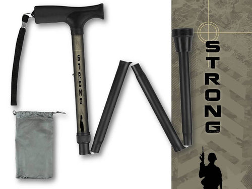 Folding Walking Cane Army Collapsible Travel Military Men or Women Fashionable BFunkyMobility