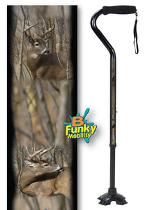 Walking Cane Gel Grip Offset Footed Quad with deer buck Walking Cane BFunkyMobility