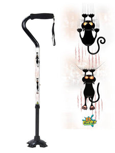 Walking Cane Gel Grip Offset Footed Quad with cats Walking Cane BFunkyMobility