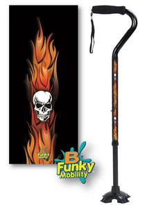 Walking Cane Gel Grip Offset Footed flames with skulls Quad Walking Cane BFunkyMobility