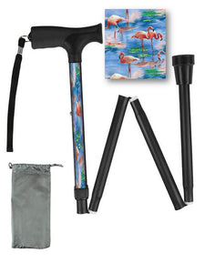 Fashionable folding collapsible pink flamingo travel walking canes with pretty patterns cool fun made in USA by BFunkyMobility