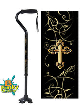 Load image into Gallery viewer, walking cane foam handle offset footed quad gold cross adjustable men or women fashionable bfunkymobility