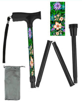 Load image into Gallery viewer, Fashionable folding collapsible tropical floral travel walking canes with pretty patterns cool fun made in USA by BFunkyMobility