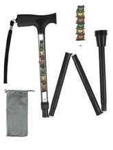 Load image into Gallery viewer, Fashionable folding collapsible owl travel walking canes with pretty patterns cool fun made in USA by BFunkyMobility