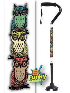 Walking Cane Gel Grip Offset Footed Quad with owls Walking Cane BFunkyMobility