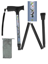 Load image into Gallery viewer, Fashionable folding collapsible hummingbird travel walking canes with pretty patterns cool fun made in USA by BFunkyMobility