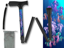 Load image into Gallery viewer, Fashionable folding collapsible jelly fish travel walking canes with pretty patterns cool fun made in USA by BFunkyMobility