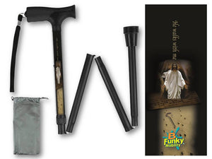 Folding walking cane fun cool travel men or women compact lightweight quality fashionable made in usa he walks with me jesus bfunkymobility