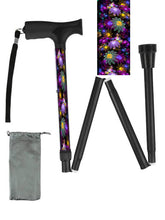 Load image into Gallery viewer, Fashionable folding collapsible purple may flowers travel walking canes with pretty patterns cool fun made in USA by BFunkyMobility