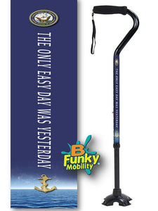 Military Walking Cane US Navy Offset footed quad Adjustable Men or Women Veteran BFunkyMobility