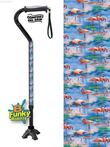 Walking Cane Gel Grip Offset Footed Quad pink flamingos Walking Cane BFunkyMobility