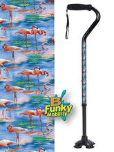 Load image into Gallery viewer, Walking Cane Gel Grip Offset Footed Quad pink flamingos Walking Cane BFunkyMobility