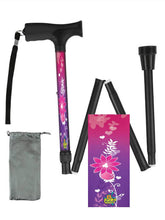 Load image into Gallery viewer, Fashionable folding collapsible pink flowers travel walking canes with pretty patterns cool fun made in USA by BFunkyMobility