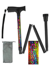 Load image into Gallery viewer, Folding walking cane fun cool travel men or women compact lightweight quality fashionable made in usa colorful musical notes bfunkymobility