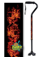 Load image into Gallery viewer, Walking Cane Offset Foam Handle Quad Footed Real Flames men or women adjustable fashionable bfunkymobility