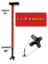 Load image into Gallery viewer, t handle walking cane derby red us marines veteran military footed adjustable men or women fashionable bfunkymobility